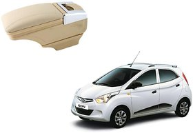 Stylish Beige Arm Rest Console For Hyundai Eon - Arm Rest in Chrome Design with Ashtray, Cup Holder And Storage
