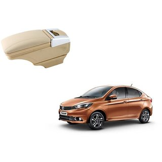 Stylish Beige Arm Rest Console For Tata Tigor - Arm Rest in Chrome Design with Ashtray, Cup Holder And Storage