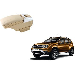 Stylish Beige Arm Rest Console For Renault Duster - Arm Rest in Chrome Design with Ashtray, Cup Holder And Storage