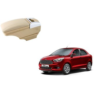 Stylish Beige Arm Rest Console For Ford Figo Aspire - Arm Rest in Chrome Design with Ashtray, Cup Holder And Storage