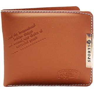 Unique Collection Men's Brown Leatherite Bi-fold Wallet (Sports-002) (Synthetic leather/Rexine)