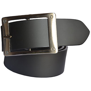 Sunshopping mens black Leatherite h pin buckle belt (Synthetic leather/Rexine)