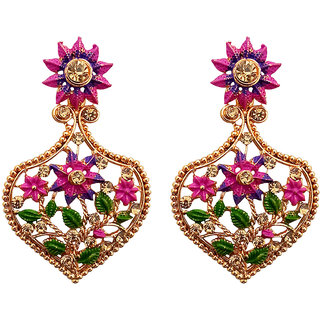 JewelMaze Gold Plated Austrian Stone Dangler Earrings-AAA4259