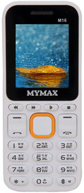 Mymax M16 Dual sim Feature phone with Open FM White Orange Colour