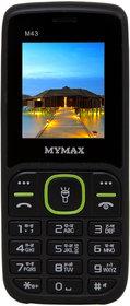 Mymax M43 (Dual Sim, 1.77 Inch Display, Wireless FM, 1000 Mah Battery, Black-Green Colour)