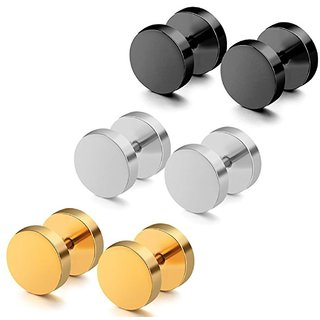 GadgetsDen Punk Style Stainless Steel Stud Barbell Earrings Combo for Men (3 Pairs)