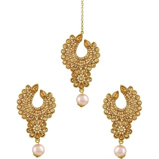 Asmitta Modern Lct Stone Gold Plated Chandbali Earring With Maang Tikka For Women