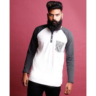aaacbfa3c775 Buy Charcoal Melange-Brilliant White Henley Printed Pocket Full Sleeve T  Shirt Online - Get 56% Off