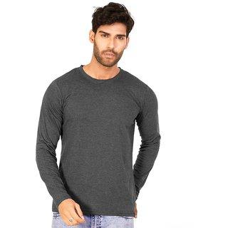 e281b46dfe22 Buy Charcoal Melange Plain T Shirts Full Sleeve T Shirt Online - Get ...