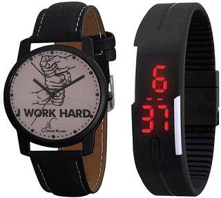 Jack Klein Stylish Graphic Edition Wrist Watch And Black Digital led Band