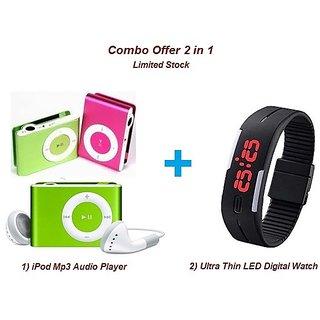 Techvik Combo of Ultra Thin Digital LED Fashion Watch  iPod Style Mini MP3 Music Player