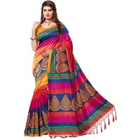 Leeps Prints Multicolor Bhagalpuri Silk Printed Saree With Blouse