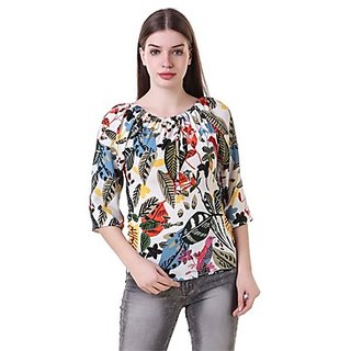 Fine White Printed Boat Neck Crop Tops  For Women
