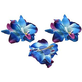 Homeoculture Bright Blue With Pink Orchid Flower Hair Clips Pack Of 2 Pieces