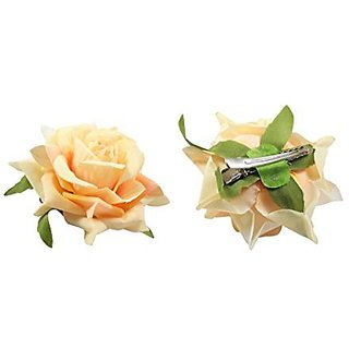 Homeoculture Cream Color Rose Flower Hair Clips - Pack Of 2 Pieces