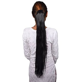 Homeoculture Black Ponytail Clip In Hair Extensions Pony Tail Straight Natural Black