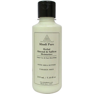 Khadi Pure Herbal Almond  Saffron Moisturizer with Sheabutter Paraben Free - 210ml