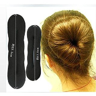 Homeoculture set of Large and small Womens Magic Foam Sponge Hairdisk Hair Device Donut Quick Messy Bun Updo Headwear