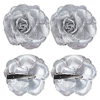 Homeoculture Silver Glittery Rose Flower Hair Clip | Pack of 2 pieces