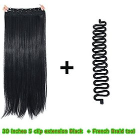 Homeoculture Straight Synthetic 30 inch Hair Extension With Free French Braid too (Black)