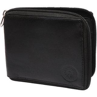 Black Color Pure Leather Single-fold Zipper Wallet Card Holder Purse Wallets For Men