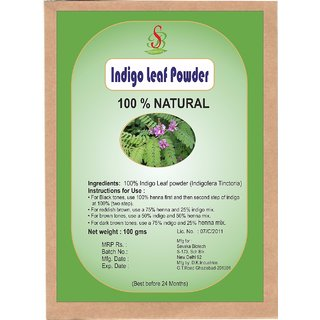 100  Natural Indigo powder Permanent Hair Color Black Natural Indigo powder 100gm
