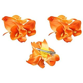 Homeoculture Bright Orange Orchid Flower Hair Clips | Pack of 2 pieces | looks like Natural Flower | Latest Design Hair Accessories
