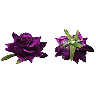 Homeoculture Violet Rose Flower Hair Clips | Pack of 2 pieces | looks like Natural Rose | Latest Design Hair Accessories