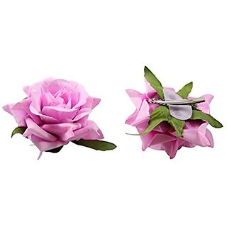 Homeoculture Lavender Color Rose Flower Hair Clips | Pack of 2 pieces | looks like Natural Rose | Latest Design Hair Accessories