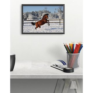 Brown horse in snow(18x12 inch)