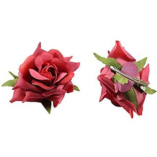 Homeoculture Pack Of 2 Light Red Color Rose Flower Hair Clips Looks Like Natural Rose | Latest Design Hair Accessories