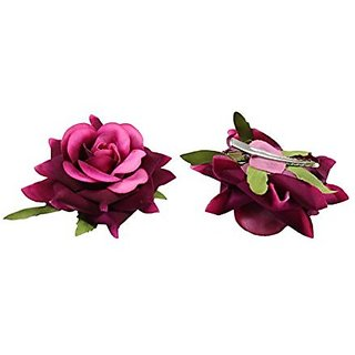 Homeoculture Pack Of 2 Magenta Color Rose Flower Hair Clips Looks Like Natural Rose | Latest Design Hair Accessories