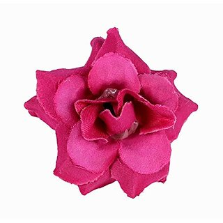 Homeoculture Dark Pink Stem Flower Hair Clips | Pack of 2 pieces | looks like Natural Flower | Latest Design Hair Accessories