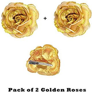 Homeoculture Golden Glittery Rose Flower Hair Clip | Pack of 2 pieces