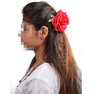 Homeoculture Red Rose Flower Hair Clip Big size | Pack of 2 pieces