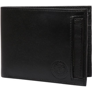 Black Color Single-fold Pure Leather Wallet With Detachable Card Holder Purse Wallets For Men