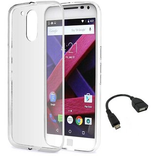 TBZ Transparent Silicon Soft TPU Slim Back Case Cover for Motorola Moto G4 Plus with OTG Cable