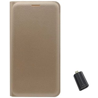 TBZ PU Leather Flip Cover Case for LYF Water 10 with USB OTG Adapter -Golden