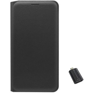 TBZ PU Leather Flip Cover Case for Lenovo Vibe K5 Plus with Micro USB OTG Connector Adapter -Black