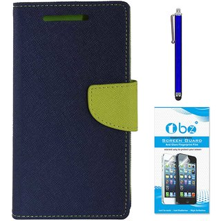 TBZ Diary Wallet Flip Cover Case for Redmi 3S with Stylus Pen and Tempered Screen Guard -Blue-Green