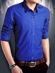 Gladiator Products dotted shirt indigo blue slim fit