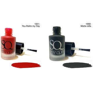 Stay Quirky Nail Polish Combo ( Matte Red You Matte my Day 1051 (6 ml) + Grey Matte-rella 1068 (6 ml)