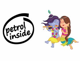 Asmi Collections Petrol Inside and Radha Krishna Car Stickers-AC012
