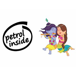 Asmi Collections Petrol Inside and Radha Krishna Car Stickers-AC012