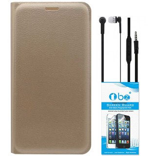 TBZ PU Leather Flip Cover Case for Coolpad Note 5 with Earphone and Tempered Screen Guard -Golden