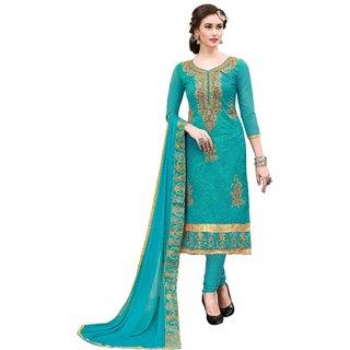 DnVeens Women Chanderi Cotton Embroidered Unstiched Suit Salwar Kameez Dress Material With Dupatta BLMDSLVN6005