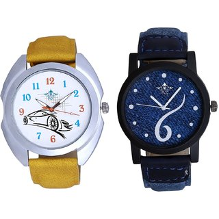 Blue Lather Design And Jaguar Car SCK Combo Gallery Wrist Watch