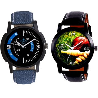 Best Cricket Design And Attractive Almight Blue Line Analog Men's Combo Wrist Watch