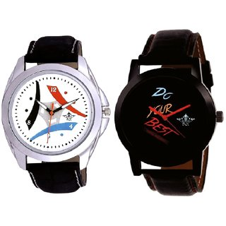 Black Dial Do Your Best And Colourful Tri Fan Analogue SCK Men's Combo Watch