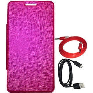 TBZ Flip Cover Case for Micromax Canvas 5 E481 with Aux Cable and Data Cable -Pink